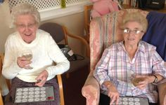 Audrey and Kath enjoy a afternoon tipple of Baileys whilst playing #Musical #Bingo #Birch Green Care Hone #Skelmersdale #Lancashire