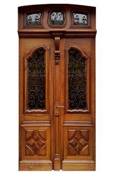 Porte d 39 entr e semi vitr e en bois massif et sol en for Fenetre avec imposte