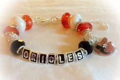 BALTIMORE ORIOLES BASEBALL jewelry bracelets handmade by SWANKEE