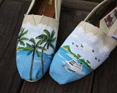 Tropical Palm Trees Cruise Ship Ocean Beach Original Custom Acrylic Painting for Toms Shoes