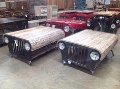 New coffee tables made from jeep grills and old wood. … New coffee tables made from jeep grills and old wood. Garage Furniture, Car Part Furniture, Automotive Furniture, Automotive Decor, Custom Furniture, Furniture Design, Jeep Grill, Old Wood, Industrial Furniture