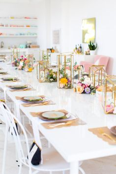The ultimate pretty Bridal Shower, Tea or Soiree table-setting with pastel & gold gilding.