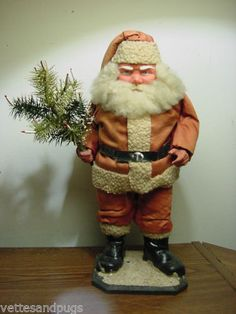 Vintage-Antique-15-GERMAN-Santa-Wonderful-Hand-Painted-Clay-Face-Feather-Tree