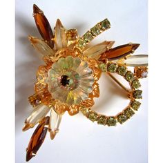 JULIANA Margarita Rhinestone Navettes Brooch, Jonquil Yellow Brown,... ($65) ❤ liked on Polyvore featuring jewelry, brooches, vintage broach, brown jewelry, rhinestone broach, vintage rhinestone jewelry and vintage rhinestone brooch