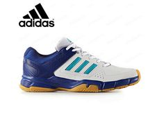 adidas Quckforce 3.1 Men's Badminton Shoes Training Blue White Sports NWT BY1817 #adidas Adidas Men, Adidas Sneakers, Badminton Shoes, Tennis, Men's Fashion, Blue And White, Leather, Stuff To Buy, Sneakers