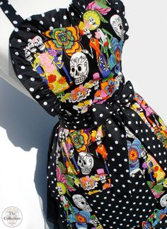 Rockabilly Handmade 1950s Sugar Skull & Polka Dot Rockabilly Apron - Apron