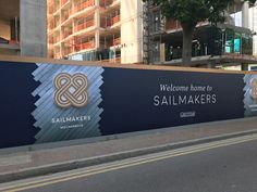 Design, production and installation of hoarding graphics and bespoke lightboxes. See more Hoarding Graphics here. Ads Creative, Creative Advertising, Advertising Design, Wayfinding Signage, Signage Design, Fence Wall Design, Hoarding Design, Office Wall Graphics, Construction Signs