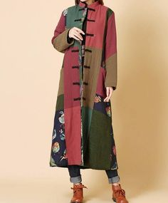 Women Loose cotton and linen Winter long coat Patchwork padded