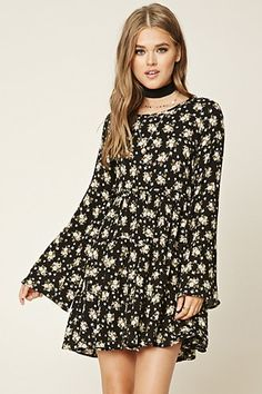 Floral Lace-Up Swing Dress