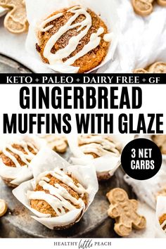 These Keto Gingerbread Muffins are the perfect holiday treat. A sweet gingerbread batter baked to perfection and topped with a sweet glaze. Only 3 NET carbs per muffin! Paleo, Keto, Dairy Free and Gluten Free.#keto #ketodesserts #ketomuffins #ketogingerbreadmuffins #gingerbreadrecipes #holidayrecipes #muffins #ketomuffins #lowcarb Dairy Free Recipes, Low Carb Recipes, Breakfast Recipes, Paleo Breakfast, Muffin Recipes, Breakfast Ideas, Dessert Recipes, Sugar Free Sweets, Homemade Muffins