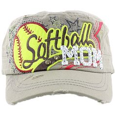 Softball Mom Hat with Adjustable Back One Size Fits All Ponytail Hole Fashion Jewelry Wholesale