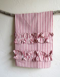 Ruffle red ticking stripe tea towel by agoodhome on Etsy, $22.00