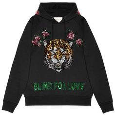 Gucci Embroidered Hooded Sweatshirt found on Polyvore featuring tops, hoodies, sweaters, clothing - hoodies, black, hooded top, embroidered hoodie, gucci hoodies, hooded sweatshirt and cotton hoodie