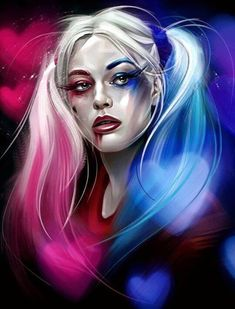 7f78cb502930 Pretty digital drawing of Harley Quinn portrait from Suicide Squad movie  done by artist Dmitry Belov