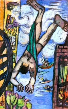 Max Beckmann: Falling Man (1950). Max Beckmann was a German painter, draftsman, printmaker, sculptor, and writer. His harshly expressive canvases, are characterized by rigidly defined blocks of color and a carved quality that evoked the Northern Gothic style.