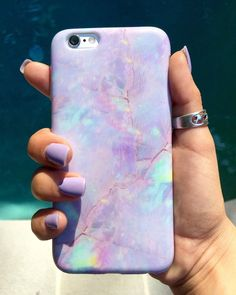 Protective pink cotton candy print marble phone case with a gloss finish.