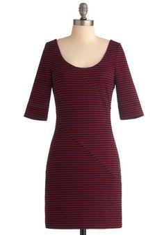 Reading List Dress by Jack by BB Dakota - Red, Black, Stripes, Casual, Sheath / Shift, 3/4 Sleeve, Fall, Mid-length