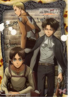 Attack on Titan Clear Plate - Jumbo Carddass Visual Art Bromide 4 Type 10: Erwin Levi and Eren (Erwin Levi and Eren)