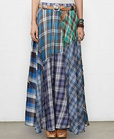 Denim & Supply Ralph Lauren Patchwork Plaid Maxi Skirt This would be easy to make with old plaid shirts Sewing Clothes, Diy Clothes, Diy Kleidung Upcycling, Umgestaltete Shirts, Plaid Shirts, Dress Shirts, Diy Maxi Skirt, Estilo Tribal, Handmade Skirts