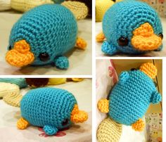RESERVED for Julia Doi - Perry the Platypus - Phineas and Ferb - Made to Order - Crocheted Fan Plushie. $30.00, via Etsy.