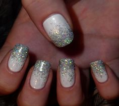 Winter nails - I just bought the perfect sparkle to do this with!