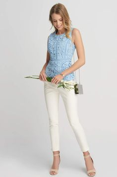 Bluzka z koronki Pink Tulle, Blue Blouse, Neue Trends, Lace Detail, Jumpsuit, Turtle Neck, Clothes For Women, Link, Ebay