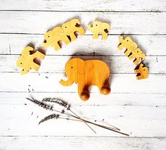 Elephant Toy set Natural Toys Wooden Toys Toddler by PawooToys