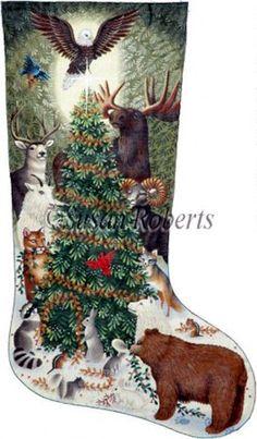 NeedlepointUS - World-class Needlepoint - Woodland Animals Needlepoint Stocking Canvas, Stockings, Cross Stitch Christmas Stockings, Cross Stitch Stocking, Christmas Stocking Pattern, Xmas Cross Stitch, Xmas Stockings, Cross Stitch Kits, Christmas Cross, Cross Stitching, Cross Stitch Embroidery
