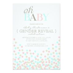 Oh Baby Confetti Gender Reveal Party Pink Blue Invitation Party Gender Reveal Party Invitations, Custom Baby Shower Invitations, Baby Shower Invitation Cards, Invitation Paper, Confetti Gender Reveal, Baby Shower Gender Reveal, Baby Gender, Little Mac, Baby Shower Purple