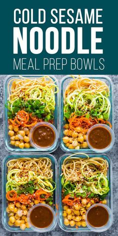 These cold sesame noodle meal prep bowls are the perfect vegan prep ahead lunch: spiralized vegetables tossed with chickpeas and whole wheat spaghetti in a spicy almond butter sauce. #sweetpeasandsaffron #mealprep #vegan #spiralizer via @sweetpeasaffron #healthyfoodprep