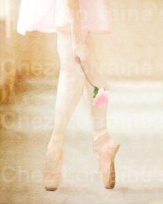 Pink Rose Ballerina:  A Ballet Dance Watercolor by ChezLorraines