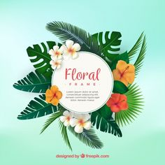 Tropical floral frame with flat design Free Vector