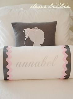 monogrammed bolster pink and green instead