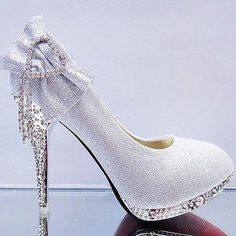 Lace white ivory crystal Wedding shoes Bridal flats low high heel pump size  5-13 4cdd6bfd4715