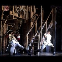 Coolest bullet of all (@ArianaDeBose) w redcoat @IAMSethStewart. @HamiltonMusical 1st show in 2 days. #HamiltonBway