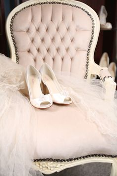 Louis chair with bridal shoes and veil