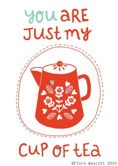 My cup of tea Valentine's Day card by florawaycott on Etsy