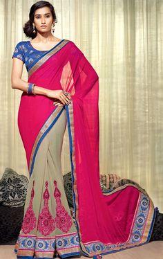 Plushy Beige and Fuchsia Color Fashionable Saree