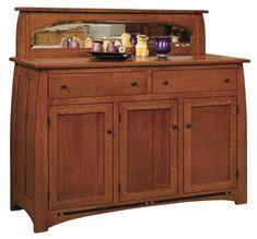 Amish Boulder Creek Mission Sideboard with Three Doors and Two Drawers in Quarter Sawn White Oak with a Michaels Cherry Finish Custom made sideboard with rich solid wood. Choose wood type, stain, hardware and more. Built by hand in Amish country. #sideboard #diningstorage