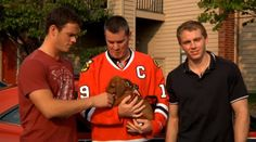 Chicago Blackhawks: Jonathan Toews is still serious even when petting a puppy. (Also, Patrick Kane.)