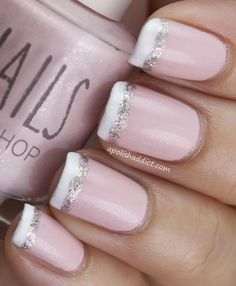 Wedding Nail Designs Ideas : Slightly Pink Wedding Nail Design