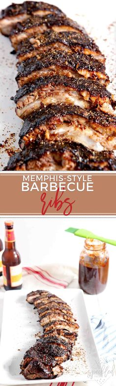 These Memphis-Style Barbecue Ribs are PERFECT for any summer get-together. Seasoned with homemade barbecue dry rub, these ribs cook low and slow for hours before finishing on the grill or in the broiler. #recipe #barbecue