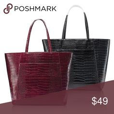 0dc588906b95 The leather croc-textured tote is for every day