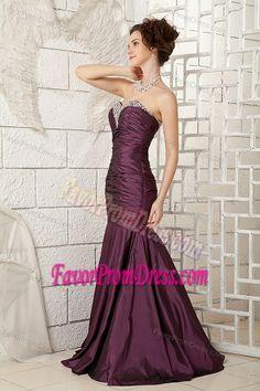 Mermaid Dark Purple Ruched Taffeta Beading Train Prom Evening Dresses