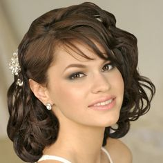 """Beauty Wedding Haircut with Bangs Hair for Women in Spring -- but I also love her more natural looking """"smokey eye"""""""