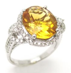 468CTW oval cut Citrine & Diamonds antique style by ninaellejewels, $1985.00