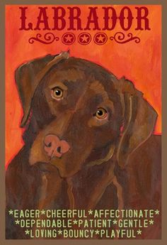 Chocolate Labrador Retriever Dog Colorful Print from Oil Original by Ursula Dodge