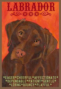 Chocolate Labrador Retriever Dog Colorful Print from Oil Original by Ursula Dodge