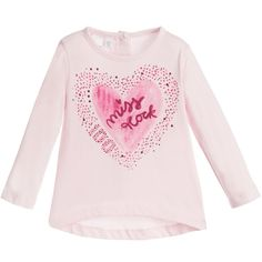 Baby girls pale pink long-sleeved top by iDo Baby. Made in a soft stretch cotton jersey, it has button fasteners on the back for easier dressing. Embellished with diamanté studs, it has a heart print on the front with 'Miss Rock' and the designer logo. A longer hem line at the back makes it ideal to be worn with leggings or tights as a tunic top<br /> <ul> <li>100% cotton (soft stretch jersey)</li> <li>Machine wash (40*C)</li> <li>Back button fasteners</li> <li>Longer hem at back</li> </ul>
