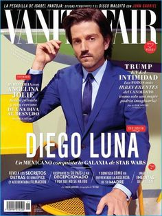 Diego Luna dons a royal blue suit for the November 2016 cover of Vanity Fair México.